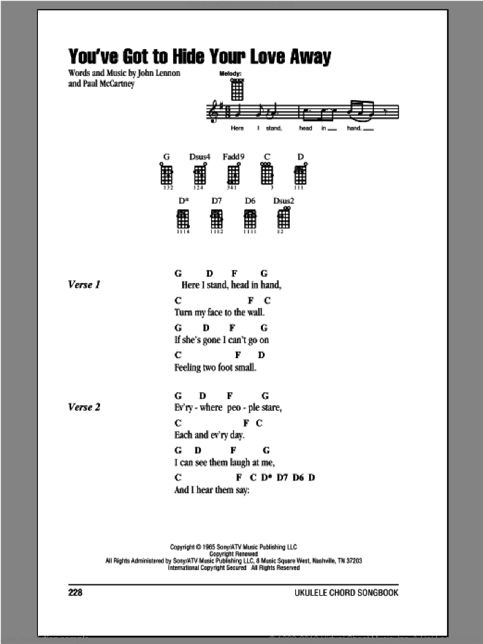 You've Got To Hide Your Love Away sheet music for ukulele (chords) by Paul McCartney, John Lennon and The Beatles. Score Image Preview.