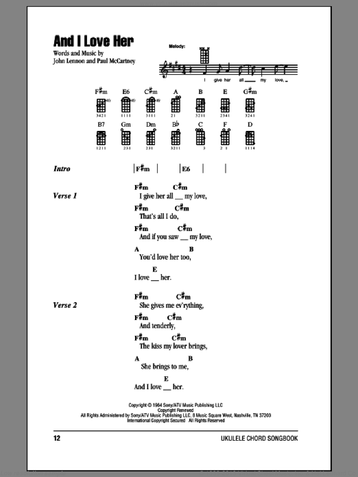 And I Love Her sheet music for ukulele (chords) by Paul McCartney