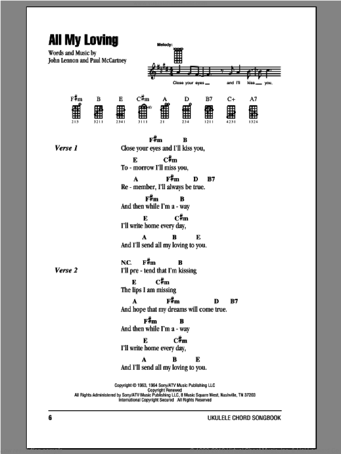 All My Loving sheet music for ukulele (chords) by The Beatles, John Lennon and Paul McCartney, intermediate skill level