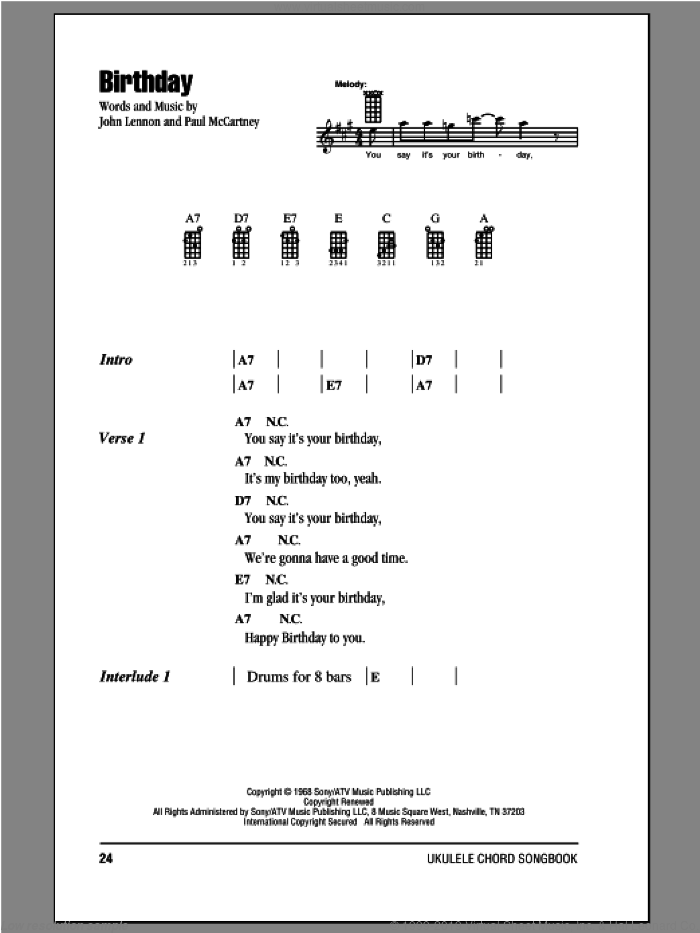 Birthday sheet music for ukulele (chords) by John Lennon, Paul McCartney and The Beatles. Score Image Preview.
