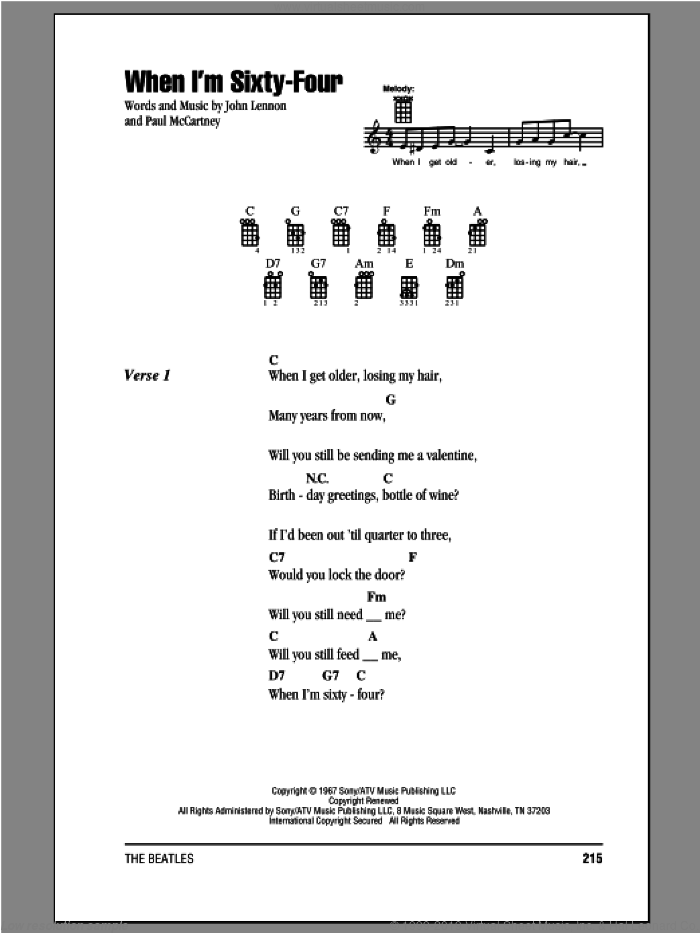 When I'm Sixty-Four sheet music for ukulele (chords) by The Beatles, John Lennon and Paul McCartney. Score Image Preview.