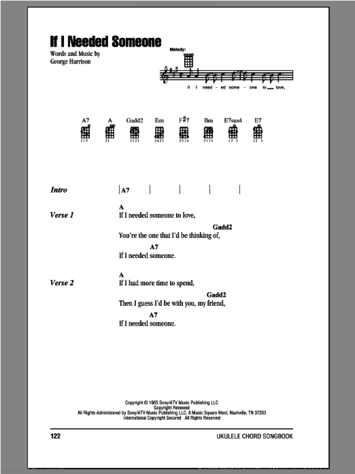 Beatles If I Needed Someone Sheet Music For Ukulele Chords