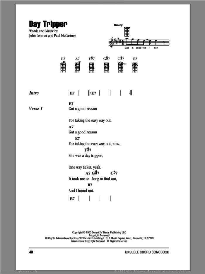 Day Tripper sheet music for ukulele (chords) by Paul McCartney, John Lennon and The Beatles. Score Image Preview.