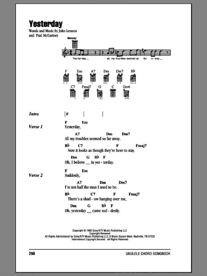 Yesterday sheet music for ukulele (chords) by The Beatles, John Lennon and Paul McCartney, intermediate. Score Image Preview.