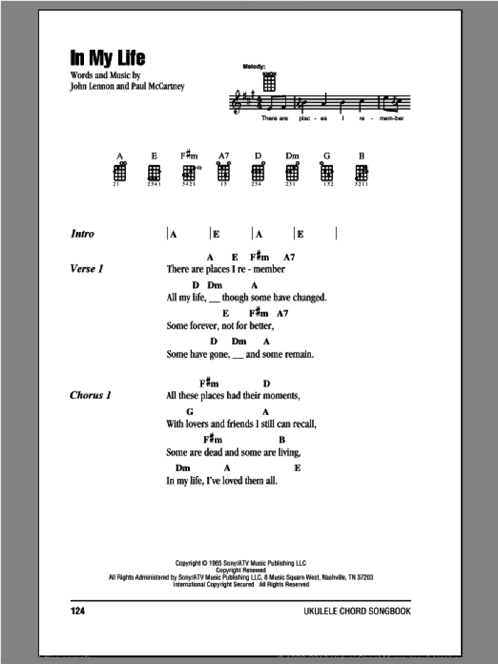 In My Life sheet music for ukulele (chords) by The Beatles, John Lennon and Paul McCartney, intermediate. Score Image Preview.