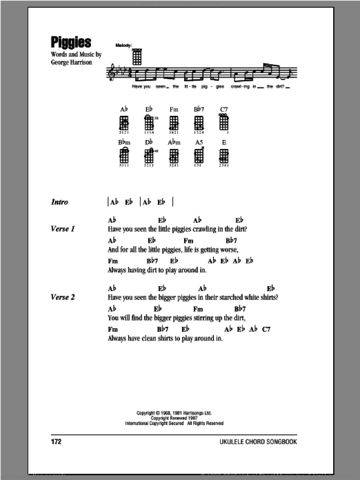 Piggies sheet music for ukulele (chords) by The Beatles and George Harrison, intermediate