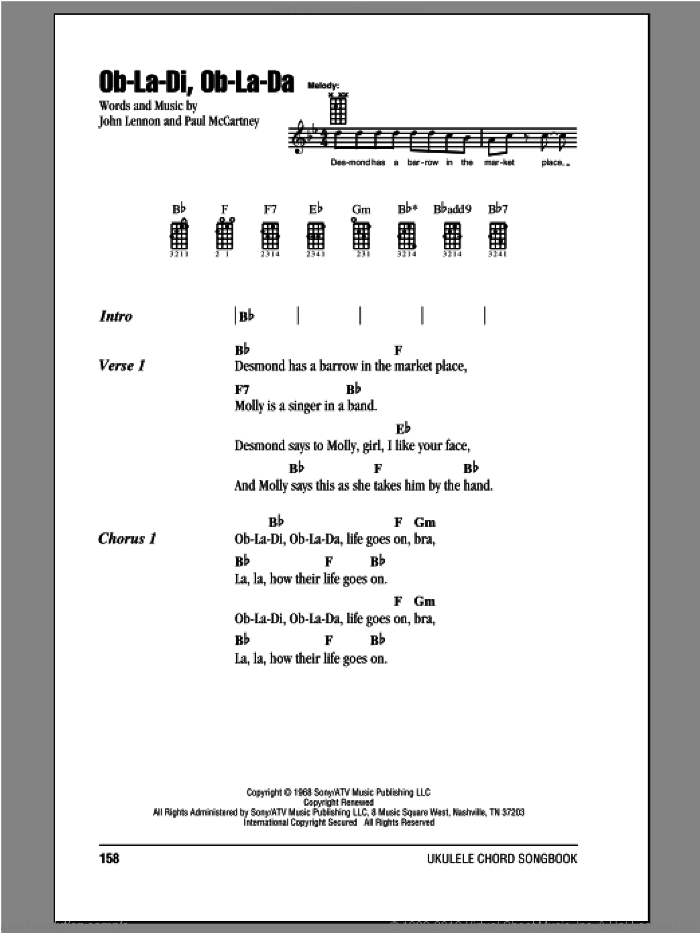 Ob-La-Di, Ob-La-Da sheet music for ukulele (chords) by Paul McCartney, John Lennon and The Beatles. Score Image Preview.