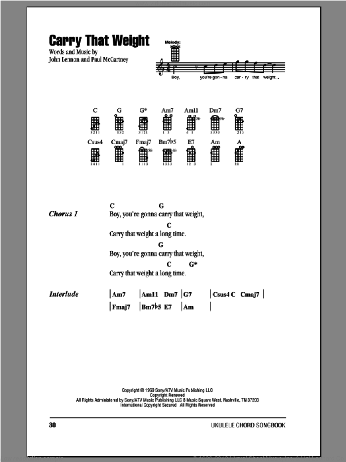 Carry That Weight sheet music for ukulele (chords) by Paul McCartney, John Lennon and The Beatles. Score Image Preview.