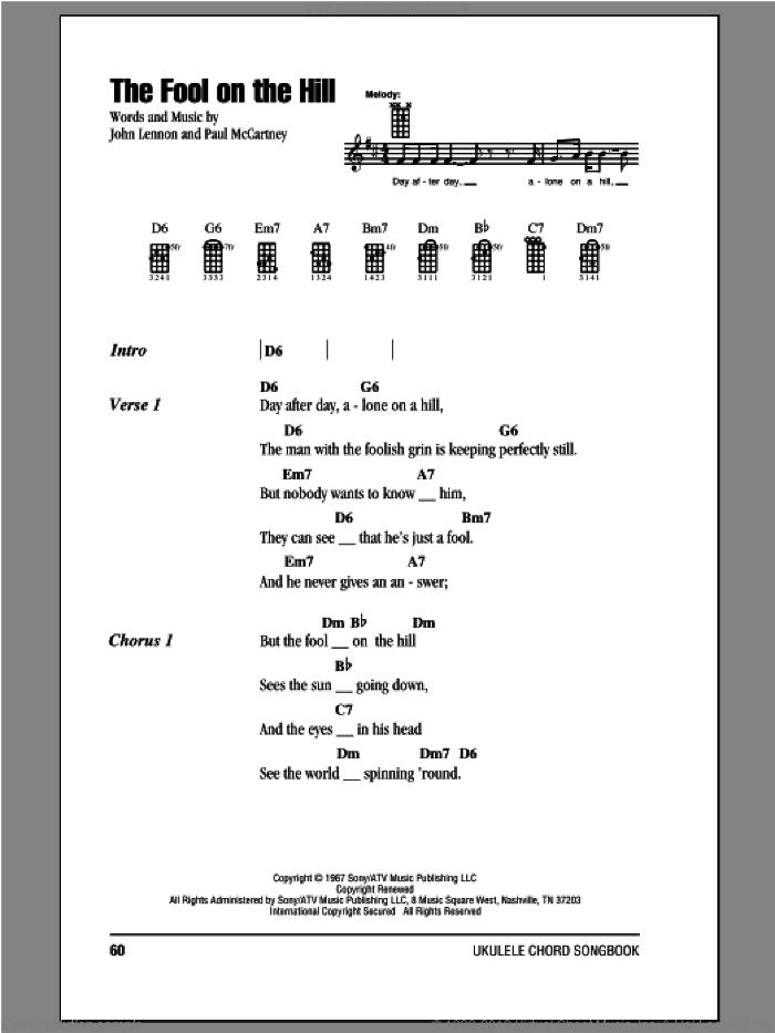 The Fool On The Hill sheet music for ukulele (chords) by Paul McCartney, John Lennon and The Beatles. Score Image Preview.