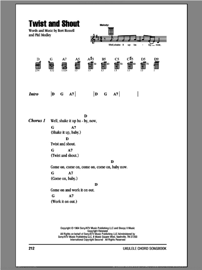 Twist And Shout sheet music for ukulele (chords) by The Beatles. Score Image Preview.
