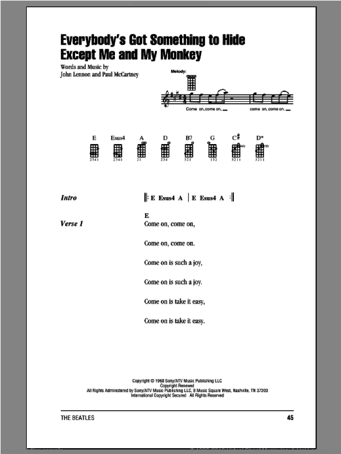 Everybody's Got Something To Hide Except Me And My Monkey sheet music for ukulele (chords) by The Beatles, John Lennon and Paul McCartney, intermediate
