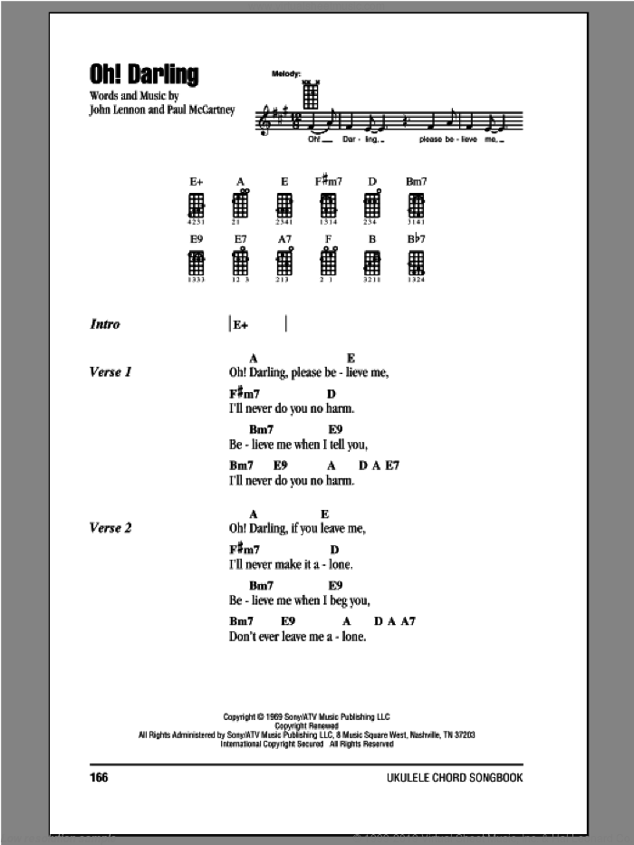 Oh! Darling sheet music for ukulele (chords) by The Beatles, John Lennon and Paul McCartney. Score Image Preview.