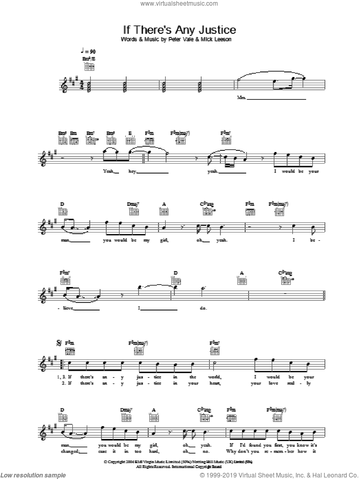 If There's Any Justice sheet music for voice and other instruments (fake book) by Lemar, Mick Leeson and Peter Vale, intermediate skill level