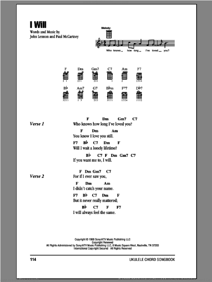 I Will sheet music for ukulele (chords) by Paul McCartney, John Lennon and The Beatles. Score Image Preview.