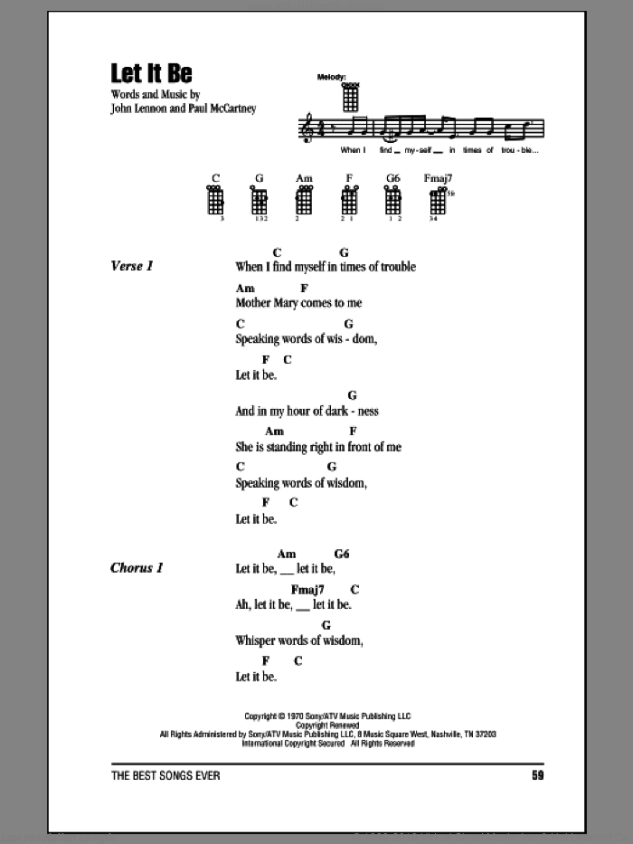 Let It Be sheet music for ukulele (chords) by Paul McCartney, John Lennon and The Beatles. Score Image Preview.