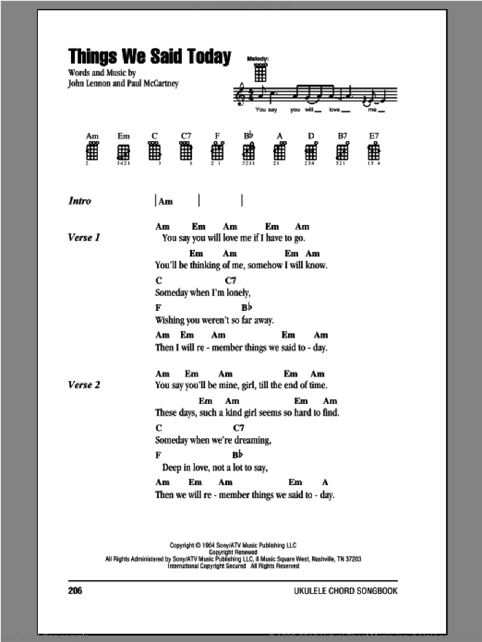 Beatles Things We Said Today Sheet Music For Ukulele Chords