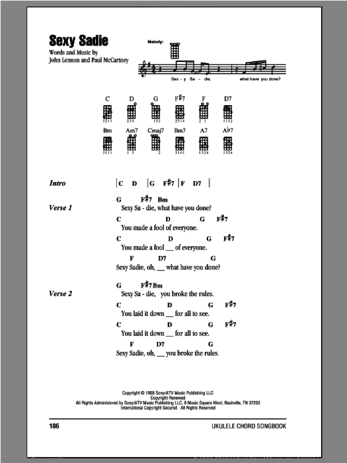 Sexy Sadie sheet music for ukulele (chords) by The Beatles, John Lennon and Paul McCartney, intermediate