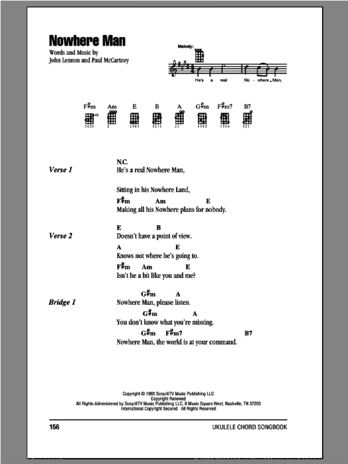 Nowhere Man sheet music for ukulele (chords) by The Beatles, John Lennon and Paul McCartney, intermediate. Score Image Preview.