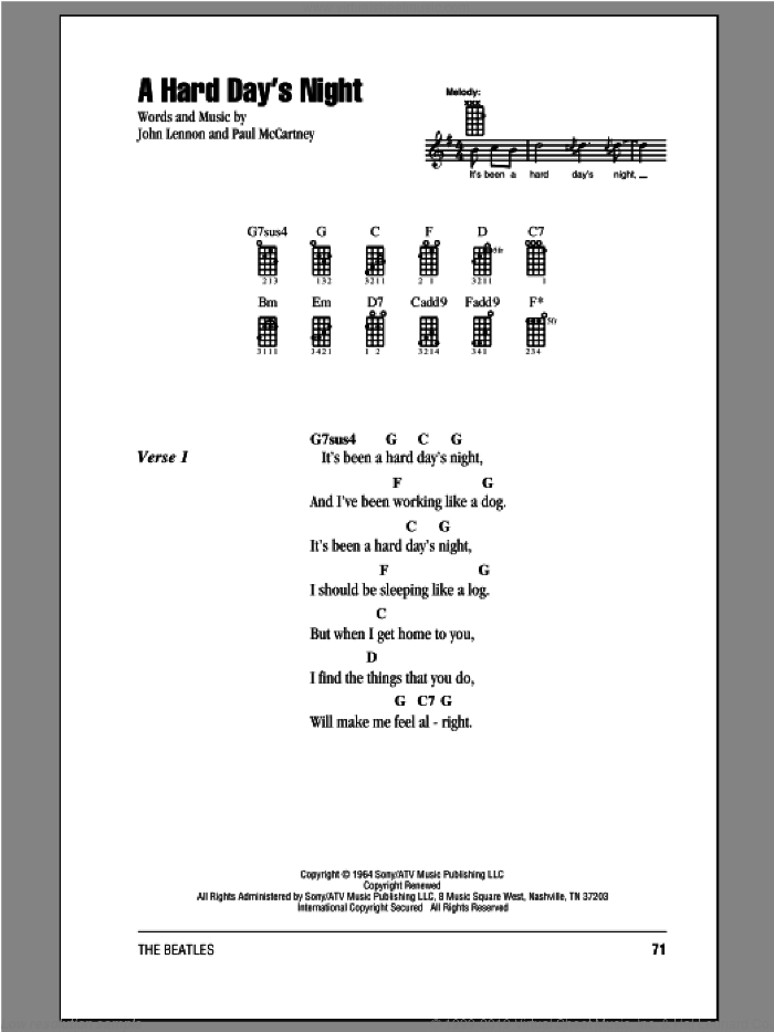 A Hard Day's Night sheet music for ukulele (chords) by The Beatles, John Lennon and Paul McCartney. Score Image Preview.