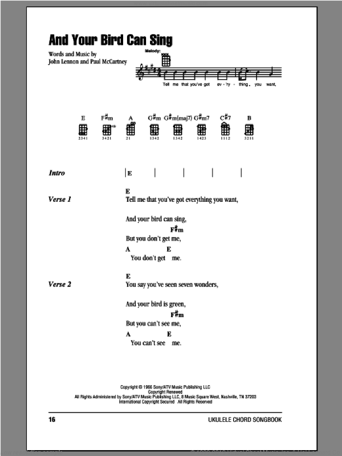 And Your Bird Can Sing sheet music for ukulele (chords) by Paul McCartney, John Lennon and The Beatles. Score Image Preview.