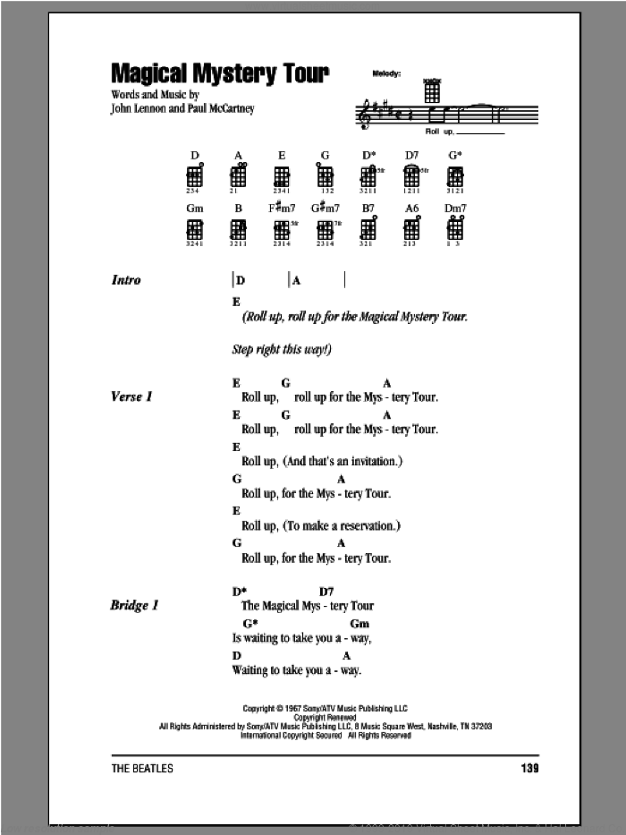 Magical Mystery Tour sheet music for ukulele (chords) by The Beatles, John Lennon and Paul McCartney, intermediate