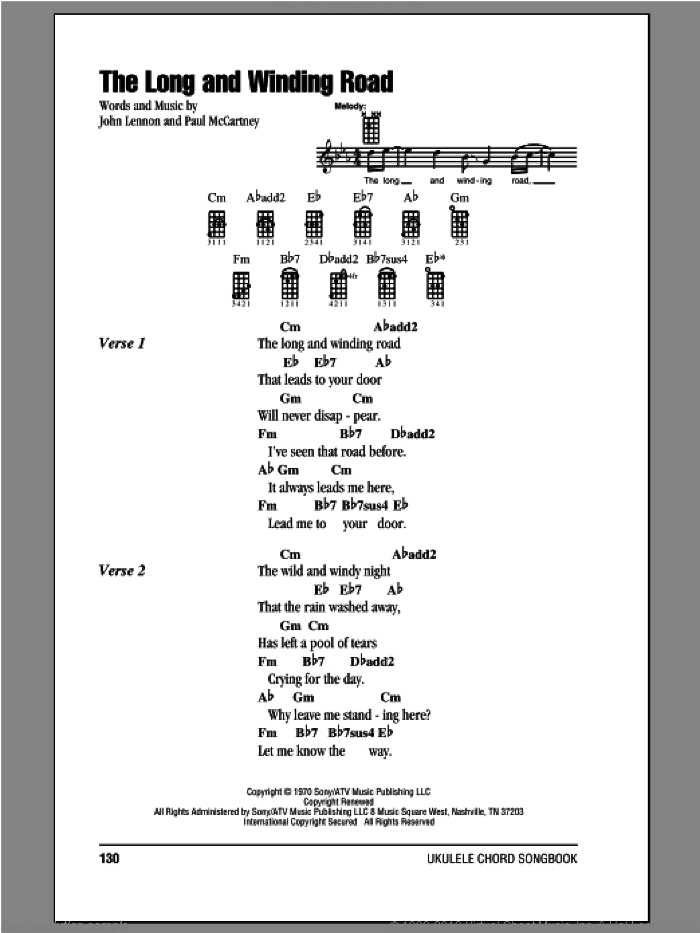 The Long And Winding Road sheet music for ukulele (chords) by Paul McCartney