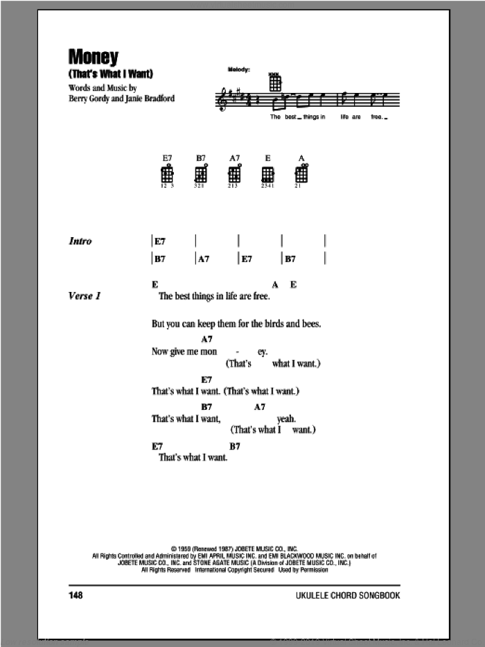 Money (That's What I Want) sheet music for ukulele (chords) by The Beatles, intermediate ukulele (chords). Score Image Preview.