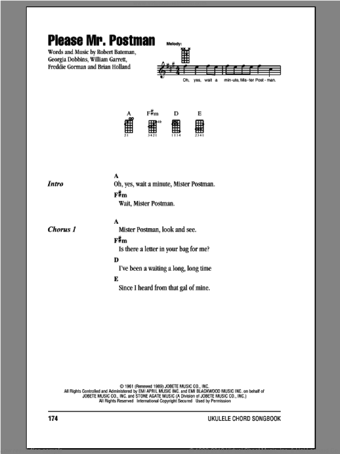 Please Mr. Postman sheet music for ukulele (chords) by The Beatles. Score Image Preview.