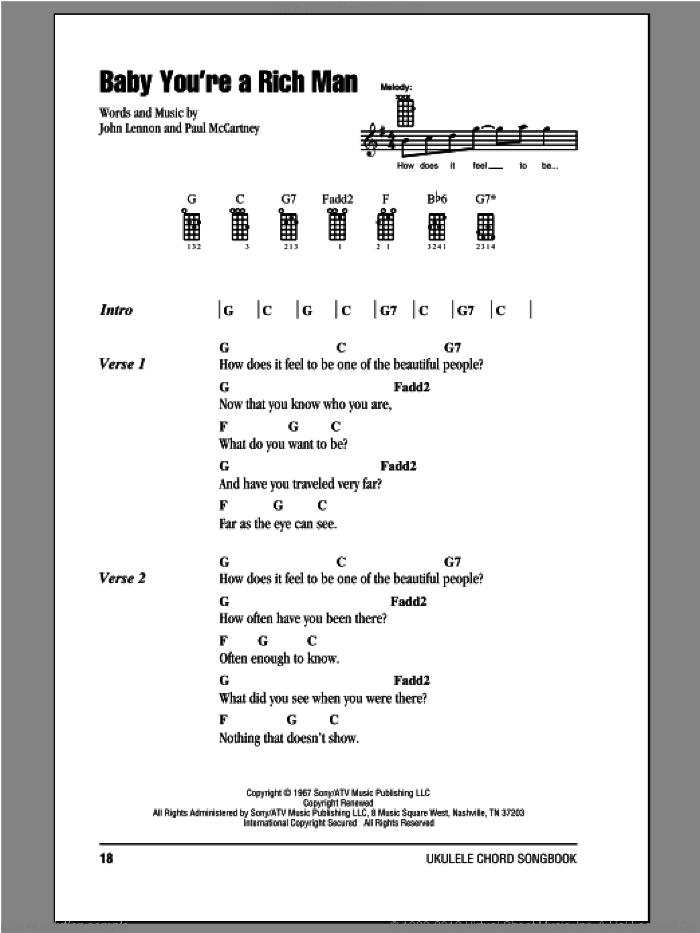 Baby You're A Rich Man sheet music for ukulele (chords) by The Beatles, John Lennon and Paul McCartney. Score Image Preview.