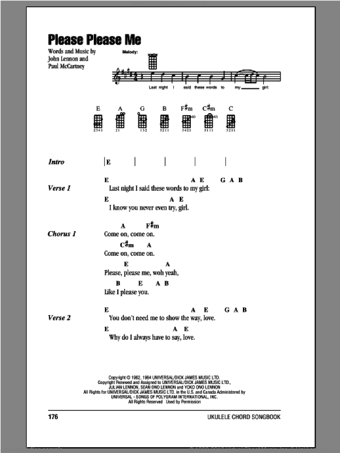 Please Please Me sheet music for ukulele (chords) by Paul McCartney, John Lennon and The Beatles. Score Image Preview.