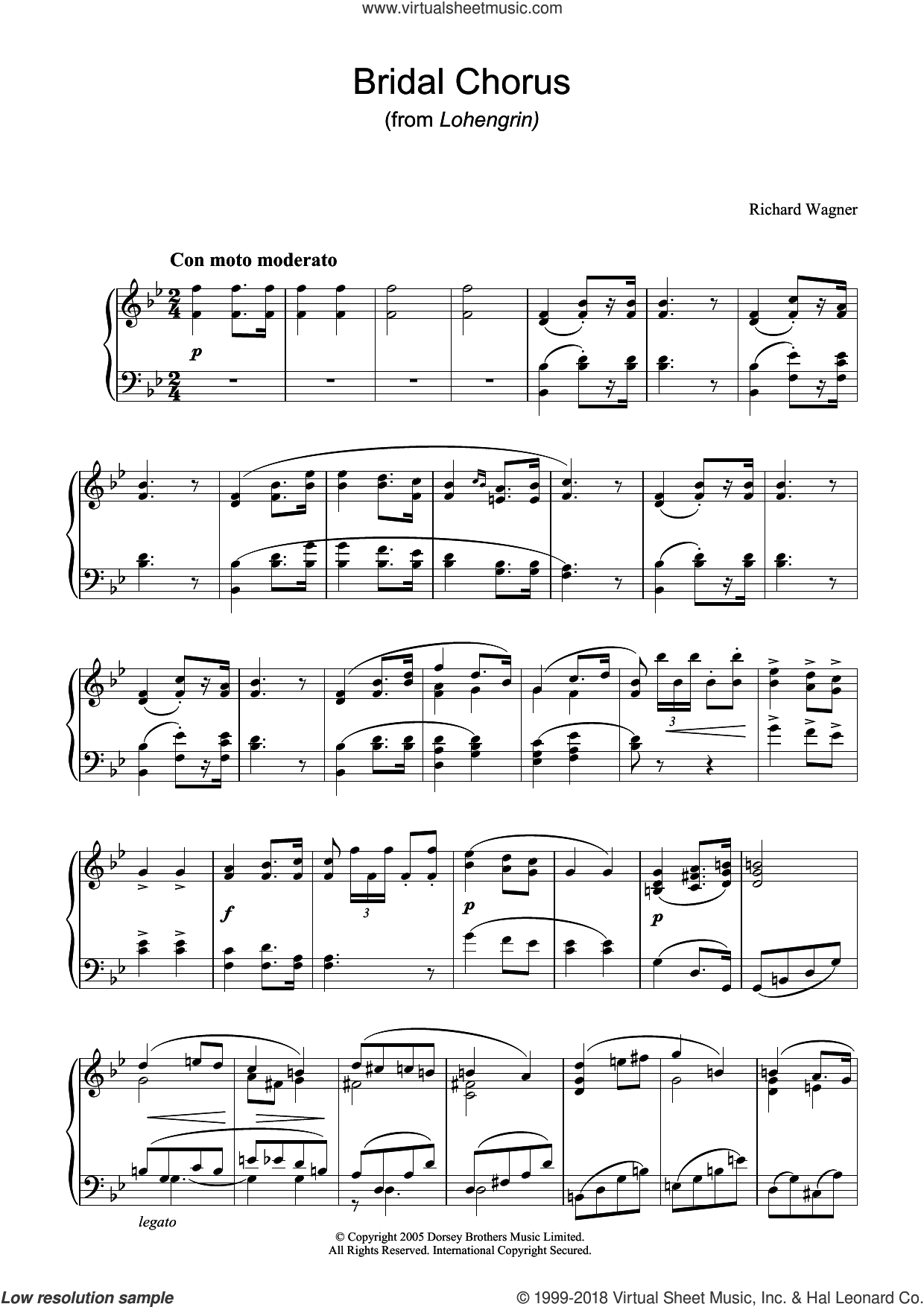 Bridal Chorus (from Lohengrin) sheet music for piano solo by Richard Wagner, classical wedding score, intermediate skill level