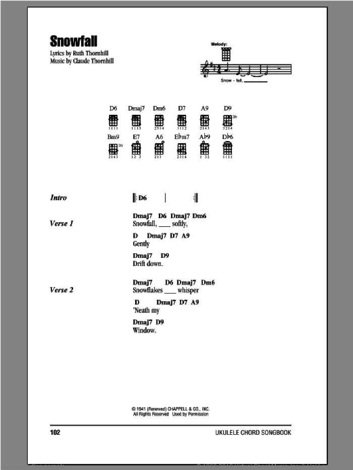 Snowfall sheet music for ukulele (chords) by Ruth Thornhill and Tony Bennett. Score Image Preview.