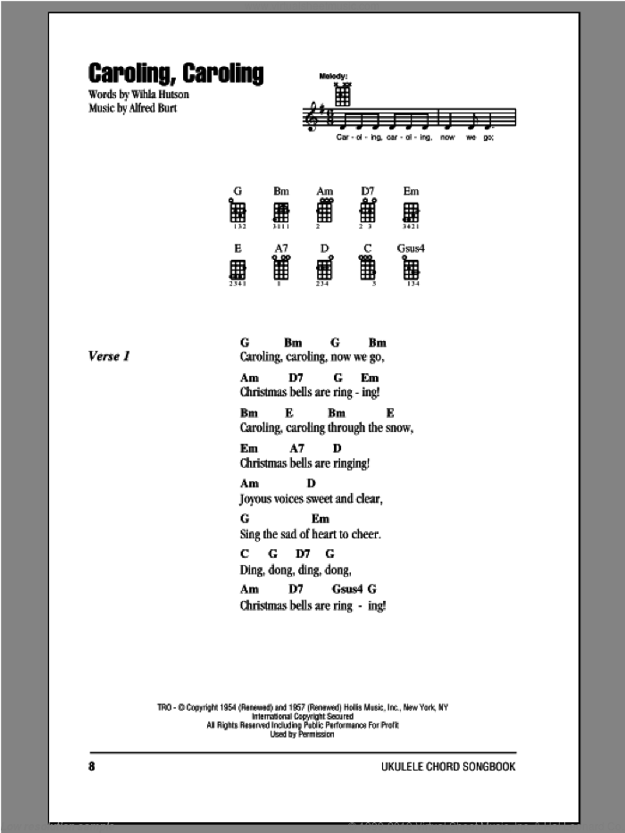 Caroling, Caroling sheet music for ukulele (chords) by Alfred Burt and Wihla Hutson. Score Image Preview.