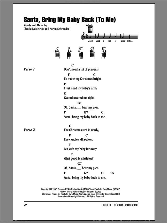 Santa, Bring My Baby Back (To Me) sheet music for ukulele (chords) by Elvis Presley and Aaron Schroeder. Score Image Preview.