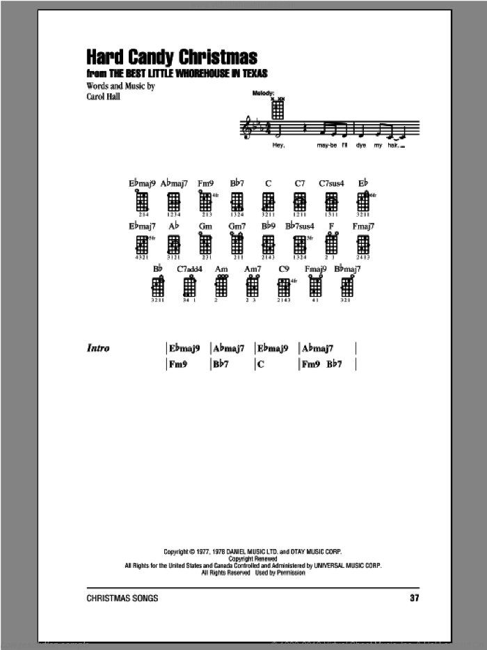 Hard Candy Christmas sheet music for ukulele (chords) by Carol Hall and Dolly Parton, intermediate skill level