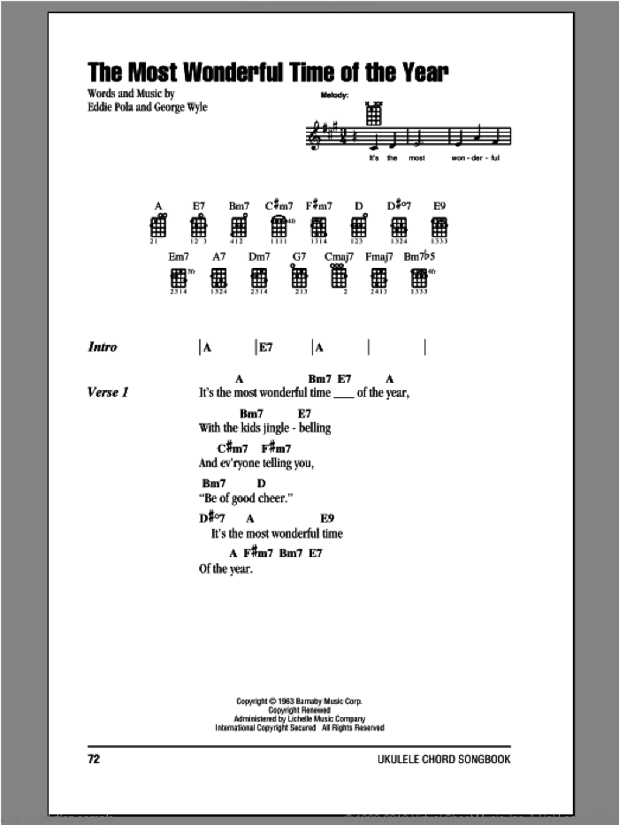 The Most Wonderful Time Of The Year sheet music for ukulele (chords) by George Wyle and Eddie Pola, intermediate