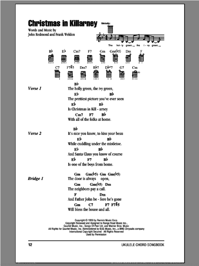 Christmas In Killarney sheet music for ukulele (chords) by Frank Weldon and John Redmond, intermediate. Score Image Preview.