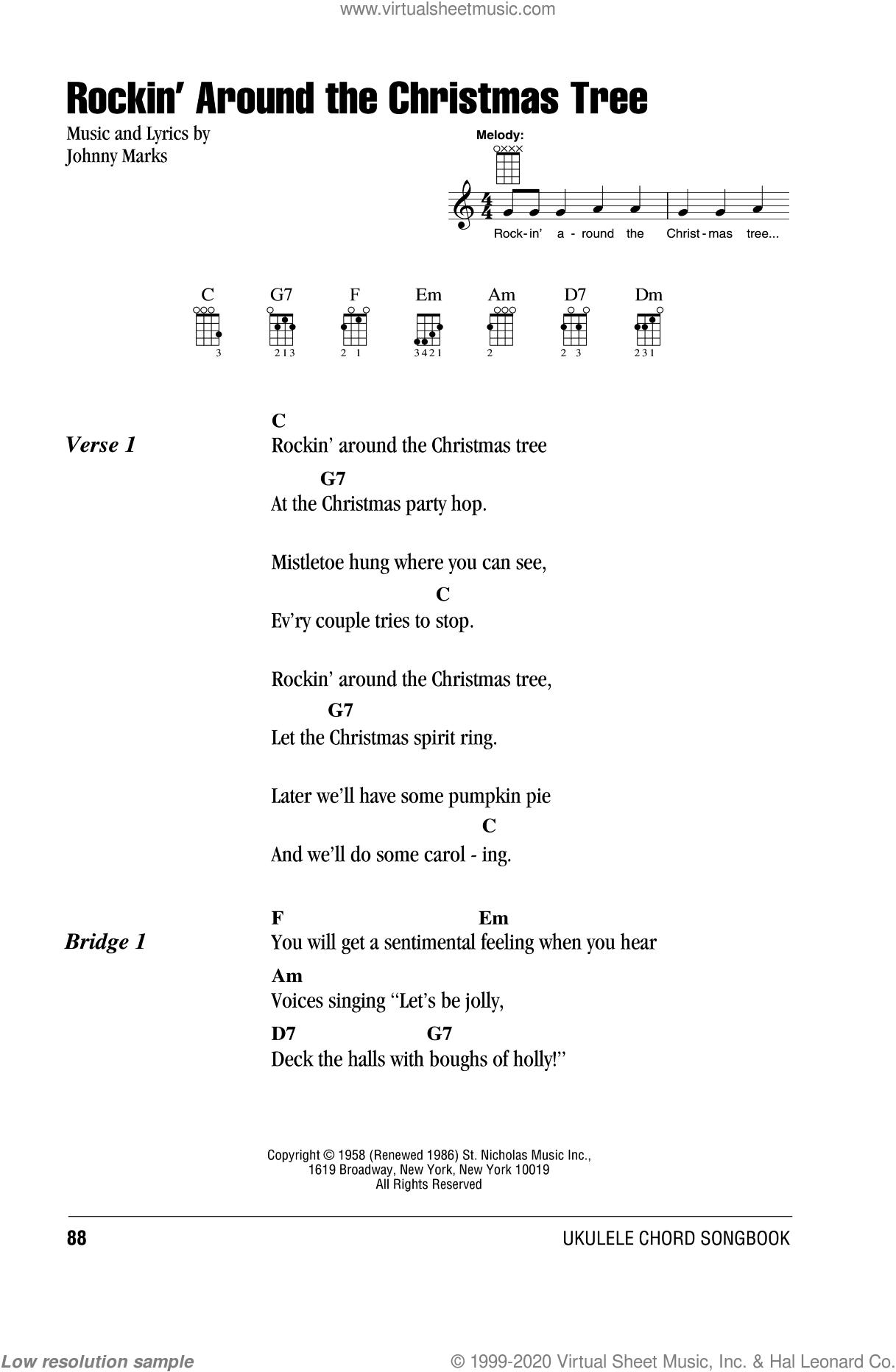 Rockin Around The Christmas Tree Piano Sheet Music.Marks Rockin Around The Christmas Tree Sheet Music For Ukulele Chords