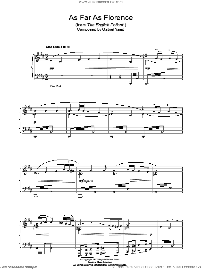 As Far As Florence (from The English Patient) sheet music for piano solo by Gabriel Yared, intermediate skill level