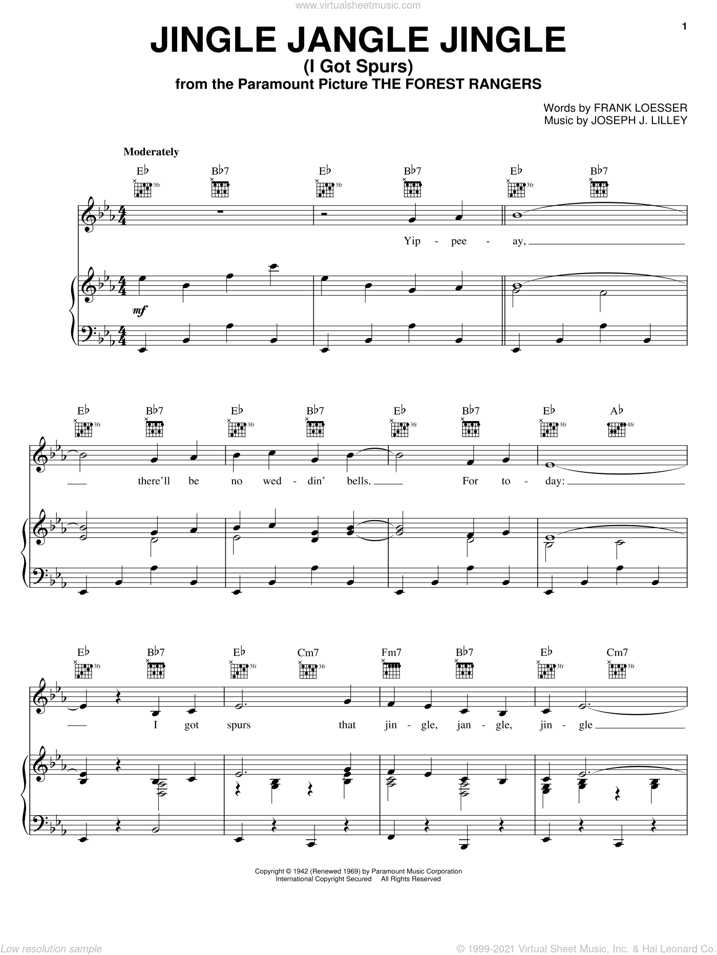 Jingle Jangle Jingle (I Got Spurs) sheet music for voice, piano or guitar by Frank Loesser and Joseph J. Lilley, intermediate skill level