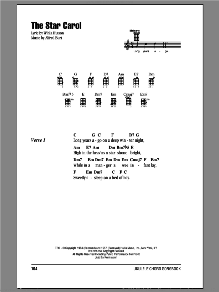 The Star Carol sheet music for ukulele (chords) by Alfred Burt and Wihla Hutson. Score Image Preview.