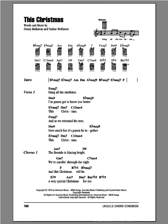 This Christmas sheet music for ukulele (chords) by Donny Hathaway, Christmas carol score, intermediate ukulele (chords). Score Image Preview.