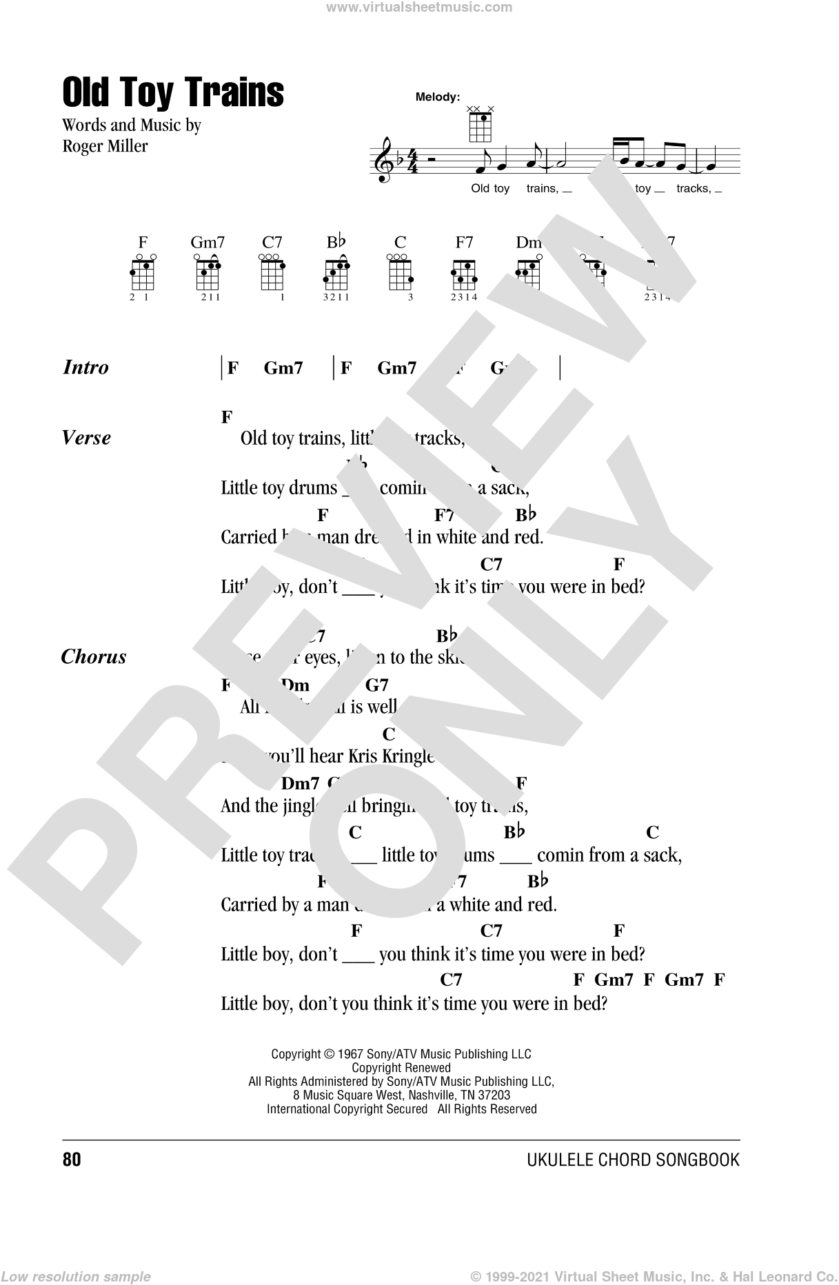 Old Toy Trains sheet music for ukulele (chords) by Roger Miller, intermediate skill level