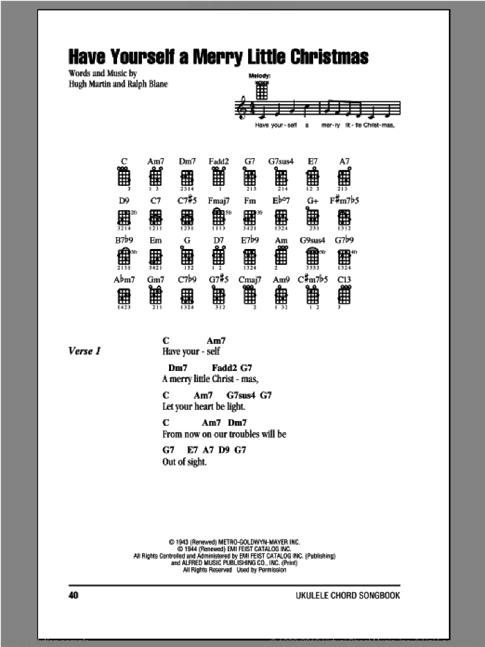 Have Yourself A Merry Little Christmas sheet music for ukulele (chords) by Ralph Blane and Hugh Martin. Score Image Preview.