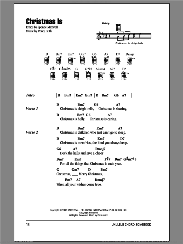 Christmas Is sheet music for ukulele (chords) by Spence Maxwell
