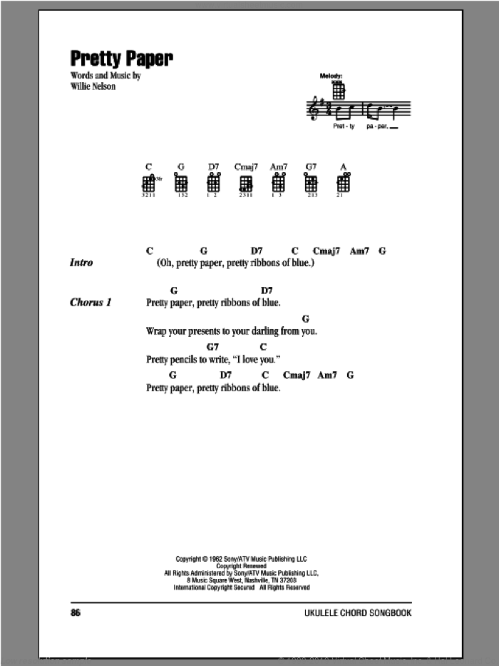 Pretty Paper sheet music for ukulele (chords) by Willie Nelson and Roy Orbison, intermediate. Score Image Preview.