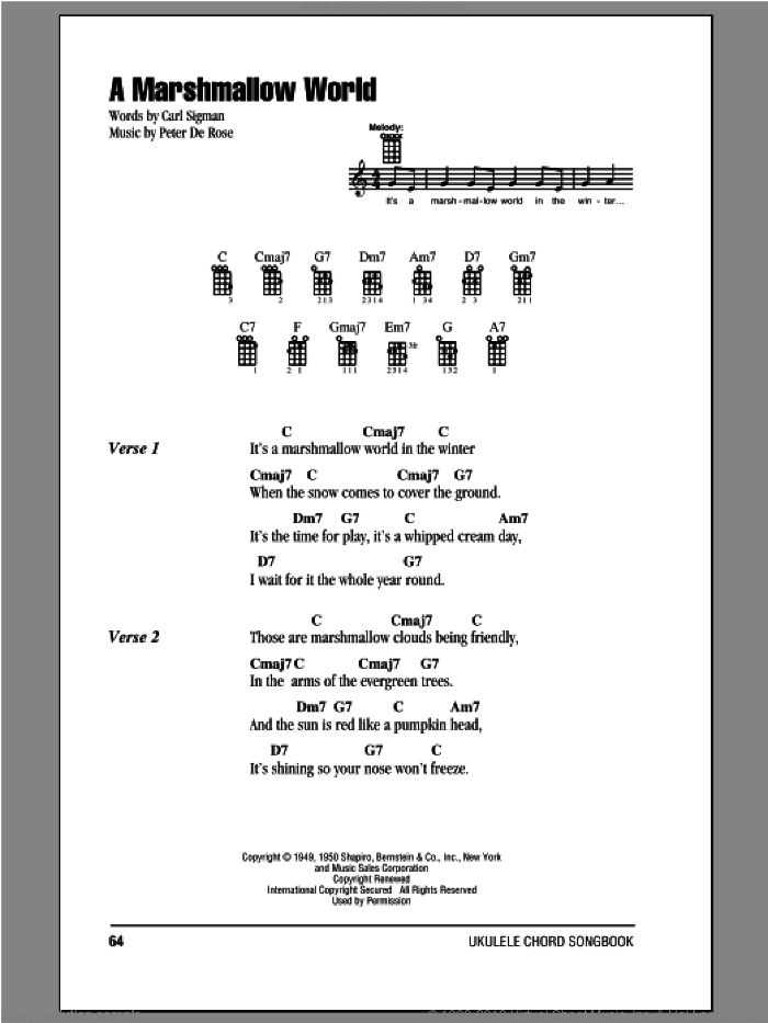A Marshmallow World sheet music for ukulele (chords) by Carl Sigman and Peter DeRose, intermediate skill level