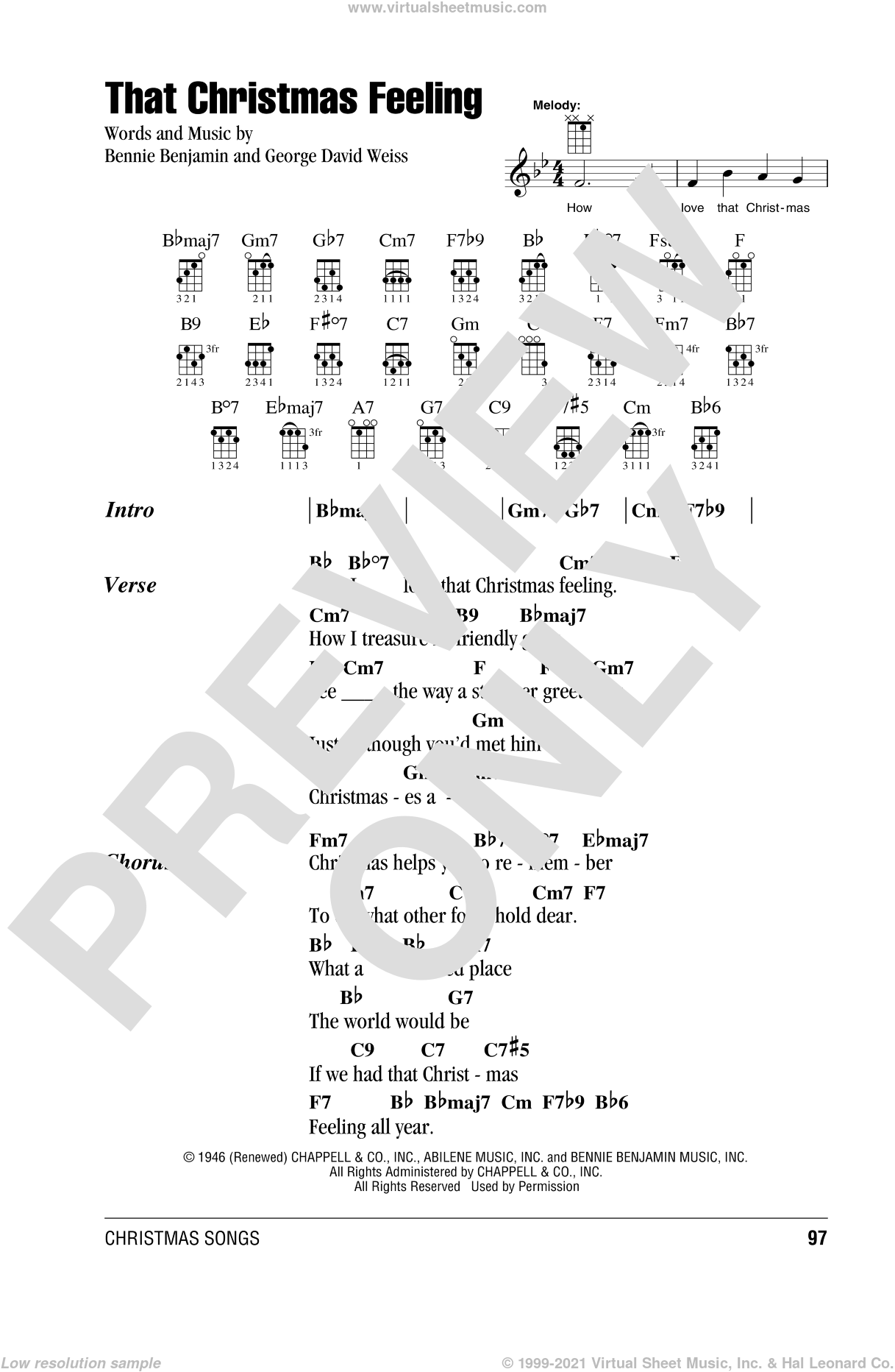 That Christmas Feeling sheet music for ukulele (chords) by Bennie Benjamin and George David Weiss. Score Image Preview.