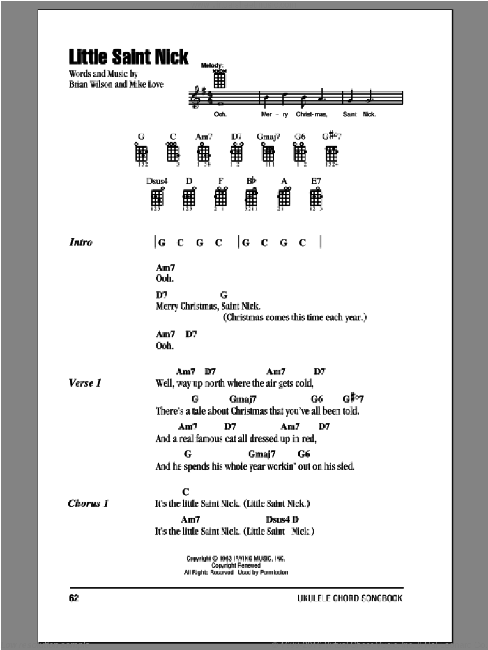 Boys - Little Saint Nick sheet music for ukulele (chords) v2