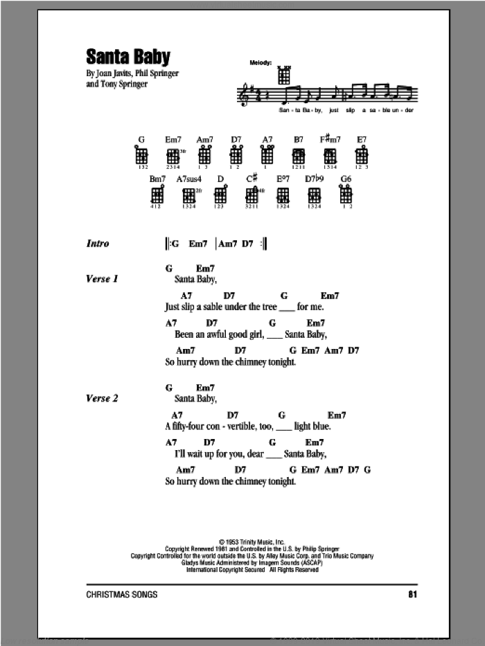 Santa Baby sheet music for ukulele (chords) by Eartha Kitt, Joan Javits, Phil Springer and Tony Springer, intermediate skill level